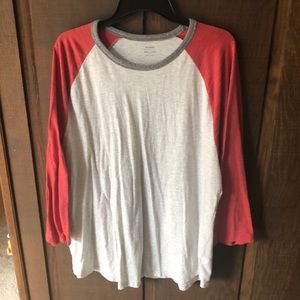 Old Navy Red and Vintage White Baseball Tee